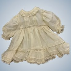 Exquisite Ecru Fine Cotton and Lace Dress for Large French German Bisque Doll