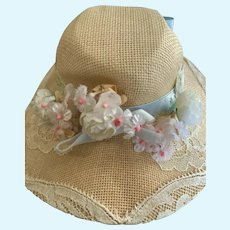 "Elegant Straw Bonnet Hat Size 8.5"" for French German Bisque"
