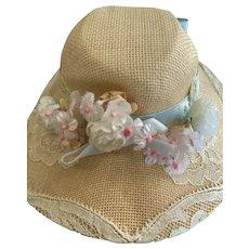 "Elegant Straw Bonnet Hat Size 8.5"" for French German Bisque"