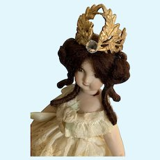 medieval Gold Metal and Rhinestone Crown for Small French German Bisque Doll