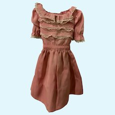 Vintage Crepe Doll Dress with Lace for French German Bisque