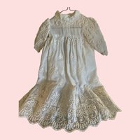 Elaborately Embroidered Vintage White Cotton Gown for Small French German Bisque Doll