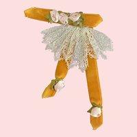 Old Velvet & Lace Jabot for French German Doll Dress