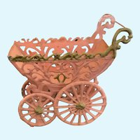 Darling Vintage Metal Doll Carriage / Pram for Tiny French German Bisque Compo Doll