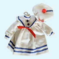 Sailor Dress with Hat for Small Doll
