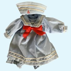 Sweet Little Sailor Dress with Hat for Small Doll