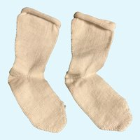 """Vintage 2.5"""" Long Combed Cotton Doll Socks for French German Bisque HTF!"""