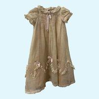 Vintage Ecru Cotton Batiste Doll Gown with Original Slip