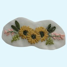 Vintage French Ribbon Embroidery Appliqué for Doll Clothing