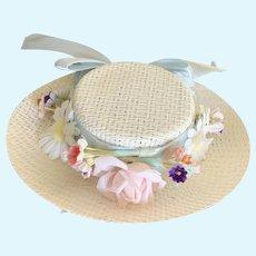 Delightful Vintage 1960's Straw Easter Doll Hat