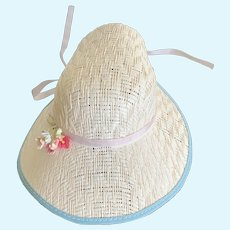 Delightful Vintage 1960's Straw Easter Bonnet for Medium Doll
