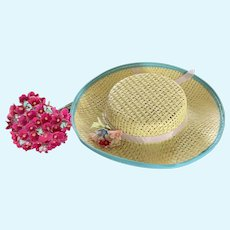 Vintage Cream Straw Hat with Tiny Fabric Millinery Bouquet