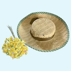 Vintage Tan Straw Hat with Tiny Fabric Millinery Flowers