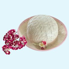 Vintage White Straw Doll Hat with Tiny Fabric Millinery Floral Bouquet