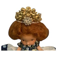 Vintage Rustic Metal and Rhinestone Crown for French German Bisque China Doll