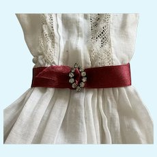 """Lovely Cranberry Satin Doll Belt with Vintage Rhinestone Buckle for 6""""-7"""" Waist"""
