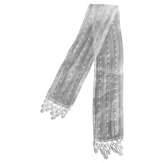 """Perfect White Dimity and Lace Scarf for a  Small Doll 20"""" x 2"""""""