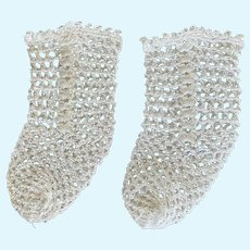 "Vintage White Crochet Open Weave Doll Socks for French German Bisque 2"" Foot"