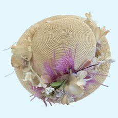 Nostalgic Vintage Picture Hat with Original Millinery Flowers