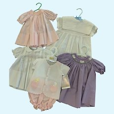 Superb Group of 5 Name-Brand Infant Baby Doll Outfits for Vintage, Artisan, Reborn