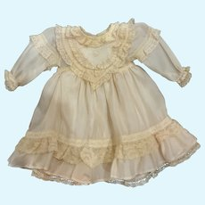 """Barely Pink Silk and Lace Doll Dress for 16"""" - 18"""" French German Bisque"""
