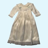 Sweet Vintage Cream Satin Doll Gown with Lace Trim and Sash