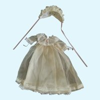 Sweet Tiny Doll Gown, Slip, and Bonnet for French German Bisque