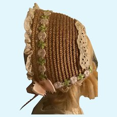 Fetching Straw Doll Bonnet for French German Bisque