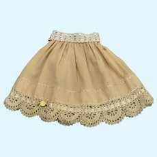Awesome Vintage Wool Doll Skirt with Crochet Belt and Topstitching for China Bisque