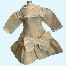 Splendid Vintage Linen and Silk Doll Dress for French German Bisque