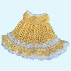 """Sweet Cotton Crochet Doll Dress for 6"""" - 7"""" French German Bisque"""