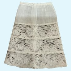 Sweet Vintage Cotton Batiste and Lace Half Slip for Small French German Doll