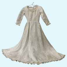 Grand White and Silver Brocade Doll Dress for Large French German China Bisque