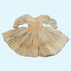 Pretty Ecru Dimity Ballet-Style Dress for Small French German Bisque Doll