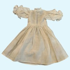 Sweet Vintage White Cotton Doll Dress for Tiny French German Bisque