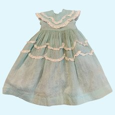 """Fetching Vintage Dotted Swiss Dress with Slip for 17"""" - 19"""" Doll"""