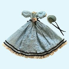 Vintage Dress with Bonnet for Petite French German China Bisque Doll