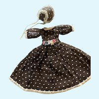 Delightful Vintage Doll Dress and Bonnet for Small China Bisque