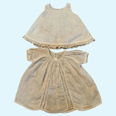 """Vintage Embroidered Cotton Doll Dress w/ Slip for 7""""-9"""" Bisque Compo Baby"""