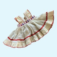 Cheerful Vintage Dotted Swiss Pinafore Dress for Doll or Bear