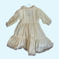 Sweet Cream Dimity and Lace Doll Dress for French German Bisque