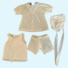4-Piece Cream Cotton Outfit for Small French German Bisque Doll