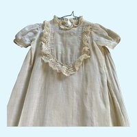 Vintage Cotton and Lace Doll Gown with Slip for Small French German Bisque
