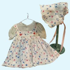 Vintage 1950's Dimity and Organdy Doll Dress & Bonnet