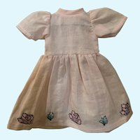 """Darling Vintage Appliqued Doll Dress for 11"""" Bluette"""