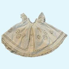 Vintage Cream Cotton and Lace Float Doll Dress for French German Bisque