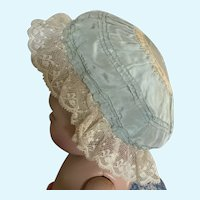 Exquisite Old Silk and Lace Cap for Doll
