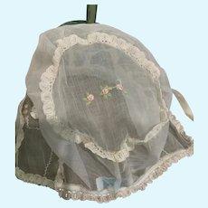 Vintage French Sheer Batiste Doll Bonnet for French German Bisque