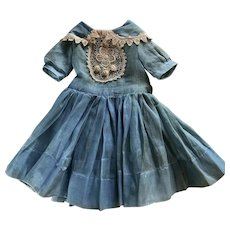 Rare Vintage Blue Organdy Doll Dress for French German