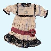 Vintage Silk Drop Waist Doll Dress for French German Bisque